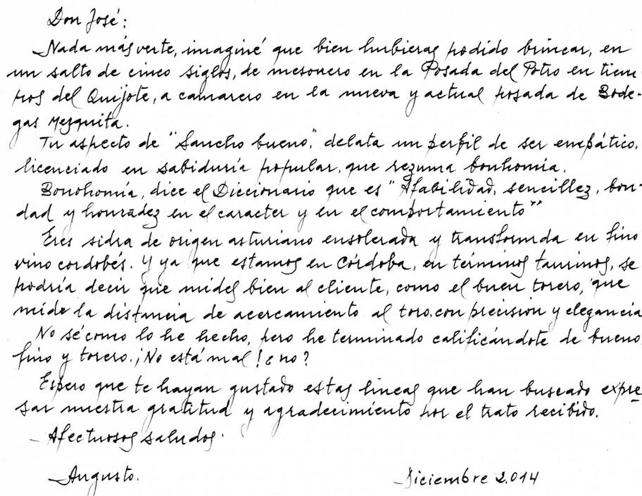 carta de agradecimiento de unos clientes a bodegas mezquita